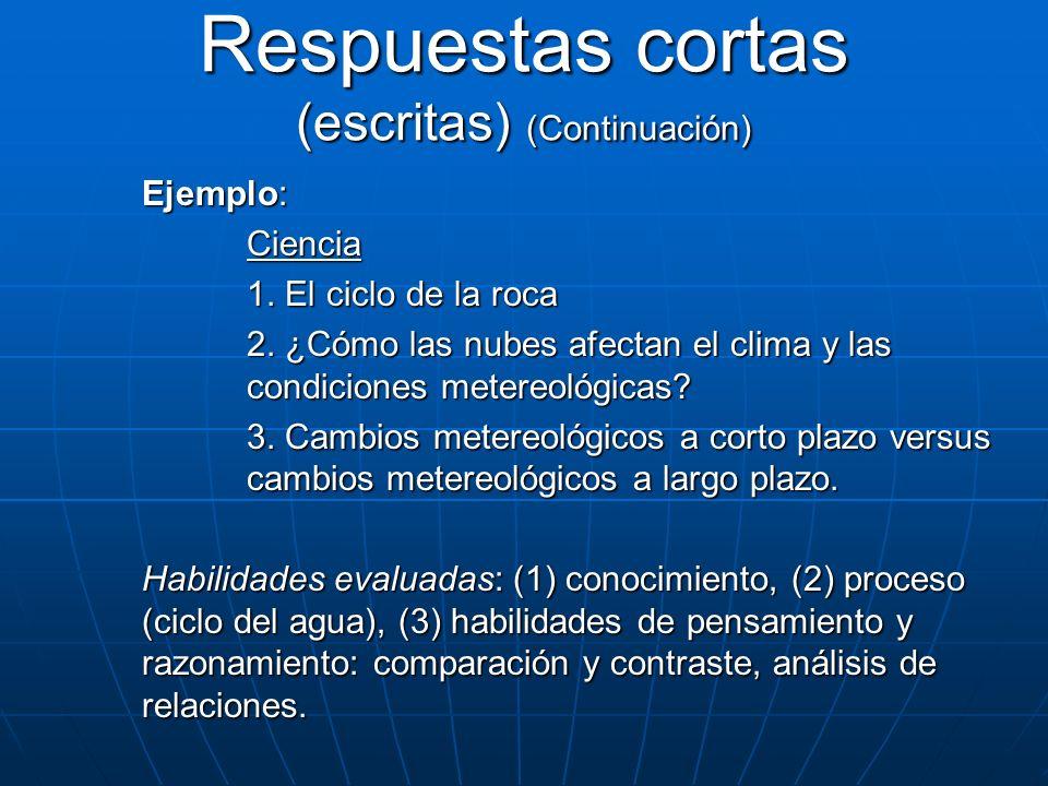 Ejemplo: Ciencia 1. El ciclo de la roca 2. ¿Cómo las nubes afectan el clima y las condiciones metereológicas? 3. Cambios metereológicos a corto plazo