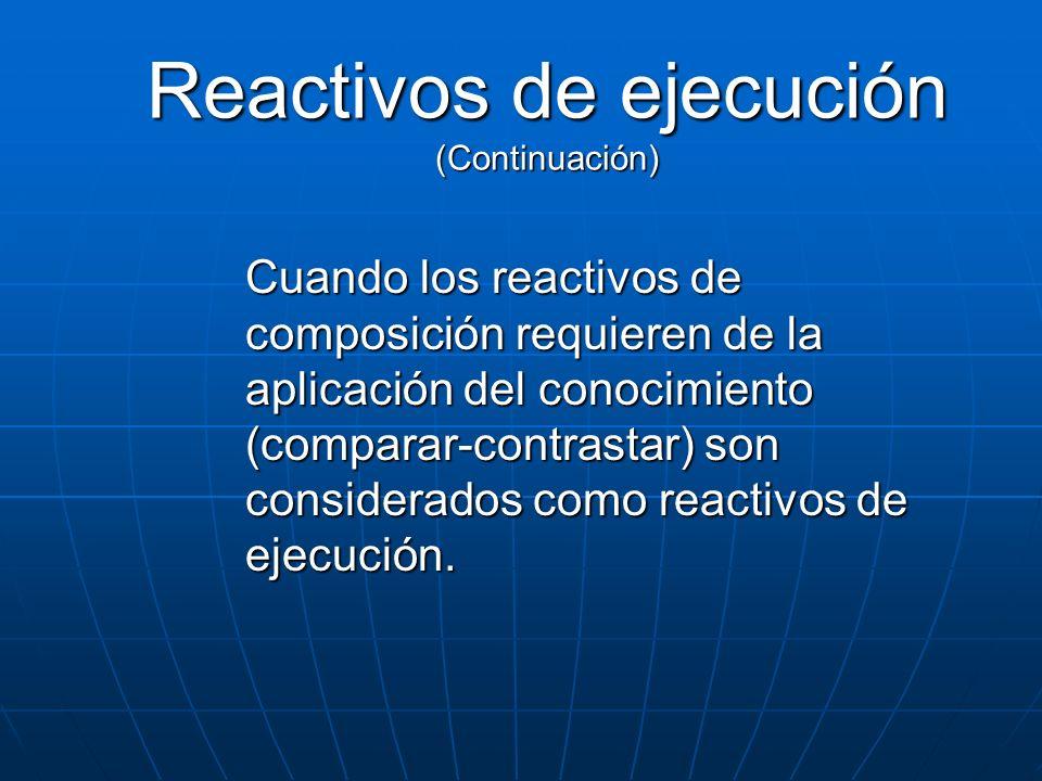 Reactivos de ejecución (Continuación) Cuando los reactivos de composición requieren de la aplicación del conocimiento (comparar-contrastar) son consid