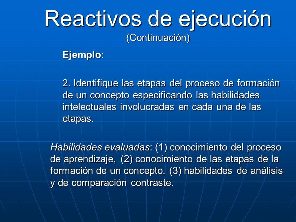 Ejemplo: 2. Identifique las etapas del proceso de formación de un concepto especificando las habilidades intelectuales involucradas en cada una de las