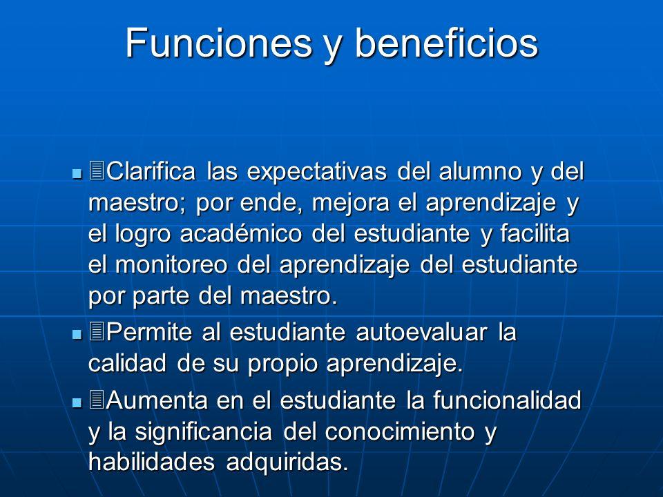 Funciones y beneficios Clarifica las expectativas del alumno y del maestro; por ende, mejora el aprendizaje y el logro académico del estudiante y faci