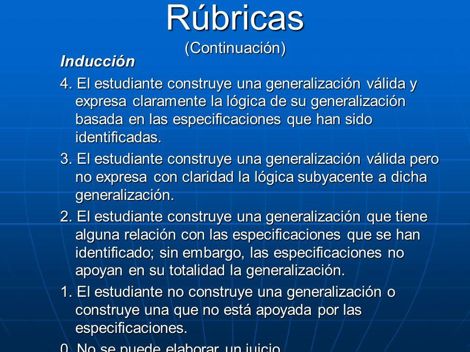 Inducción 4. El estudiante construye una generalización válida y expresa claramente la lógica de su generalización basada en las especificaciones que