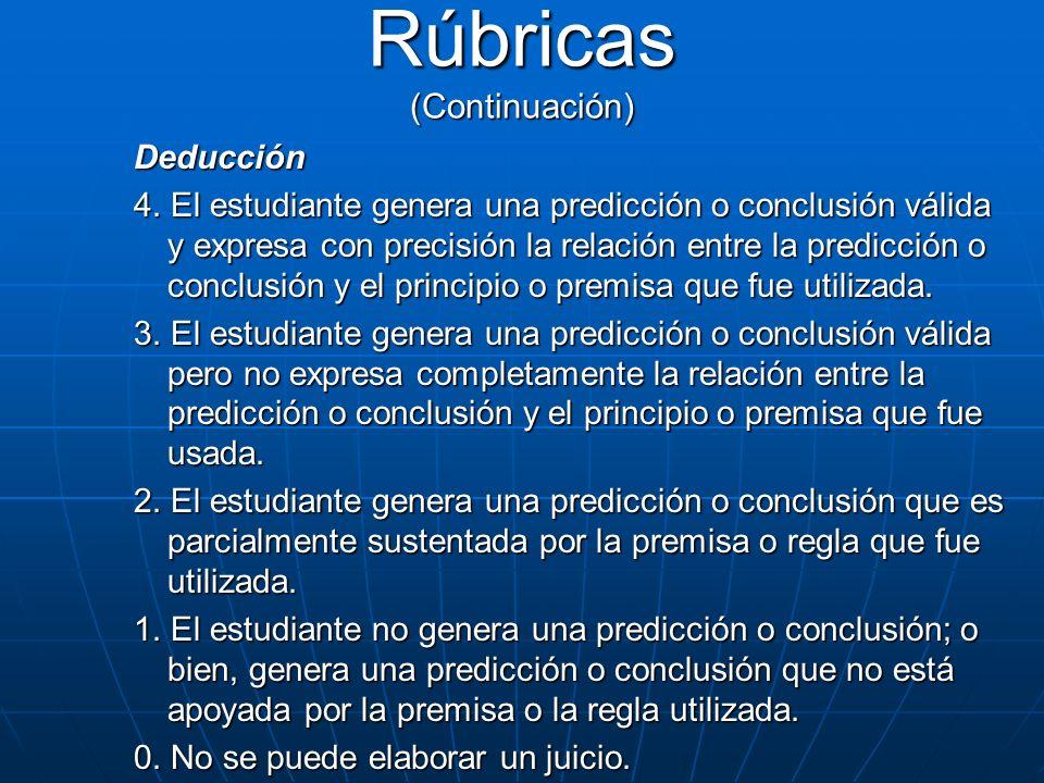 Deducción 4. El estudiante genera una predicción o conclusión válida y expresa con precisión la relación entre la predicción o conclusión y el princip
