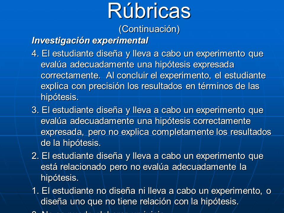 Investigación experimental 4. El estudiante diseña y lleva a cabo un experimento que evalúa adecuadamente una hipótesis expresada correctamente. Al co