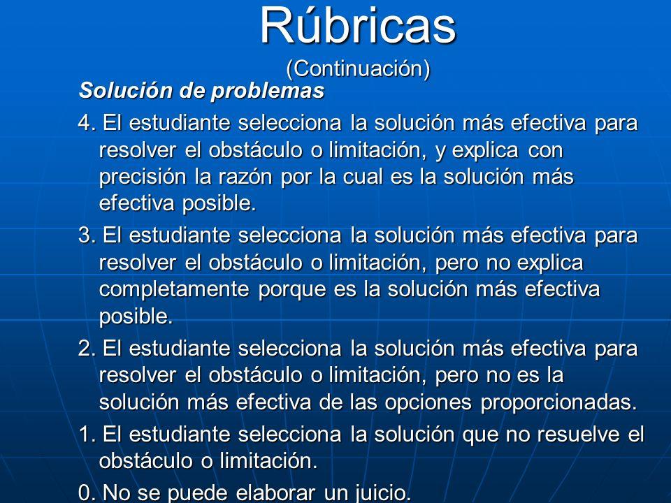 Solución de problemas 4. El estudiante selecciona la solución más efectiva para resolver el obstáculo o limitación, y explica con precisión la razón p