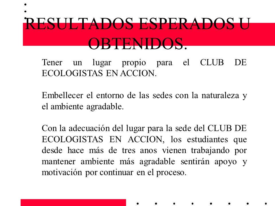 RESULTADOS ESPERADOS U OBTENIDOS.Tener un lugar propio para el CLUB DE ECOLOGISTAS EN ACCION.
