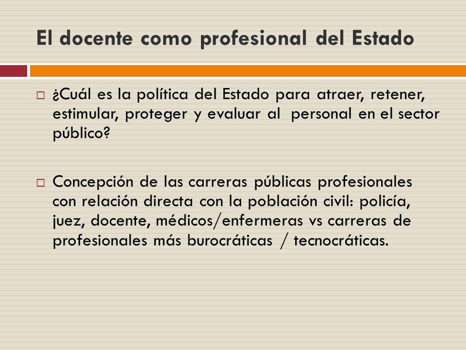 El docente como profesional del Estado ¿Cuál es la política del Estado para atraer, retener, estimular, proteger y evaluar al personal en el sector pú