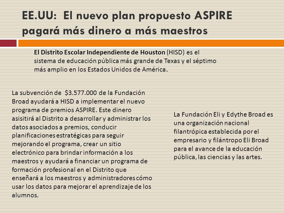 EE.UU: El nuevo plan propuesto ASPIRE pagará más dinero a más maestros El Distrito Escolar Independiente de Houston (HISD) es el sistema de educación