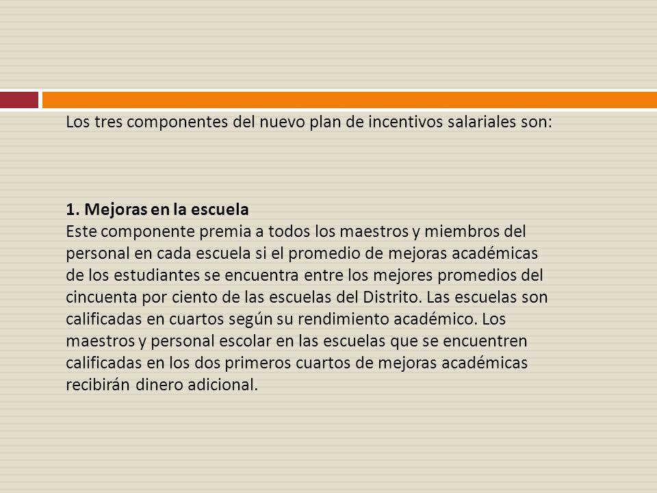 Los tres componentes del nuevo plan de incentivos salariales son: 1. Mejoras en la escuela Este componente premia a todos los maestros y miembros del