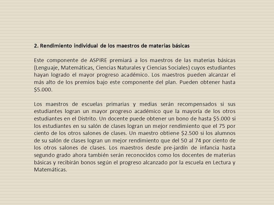 2. Rendimiento individual de los maestros de materias básicas Este componente de ASPIRE premiará a los maestros de las materias básicas (Lenguaje, Mat