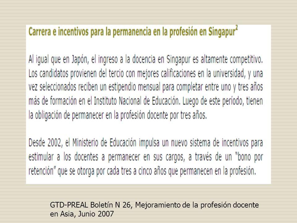 GTD-PREAL Boletín N 26, Mejoramiento de la profesión docente en Asia, Junio 2007
