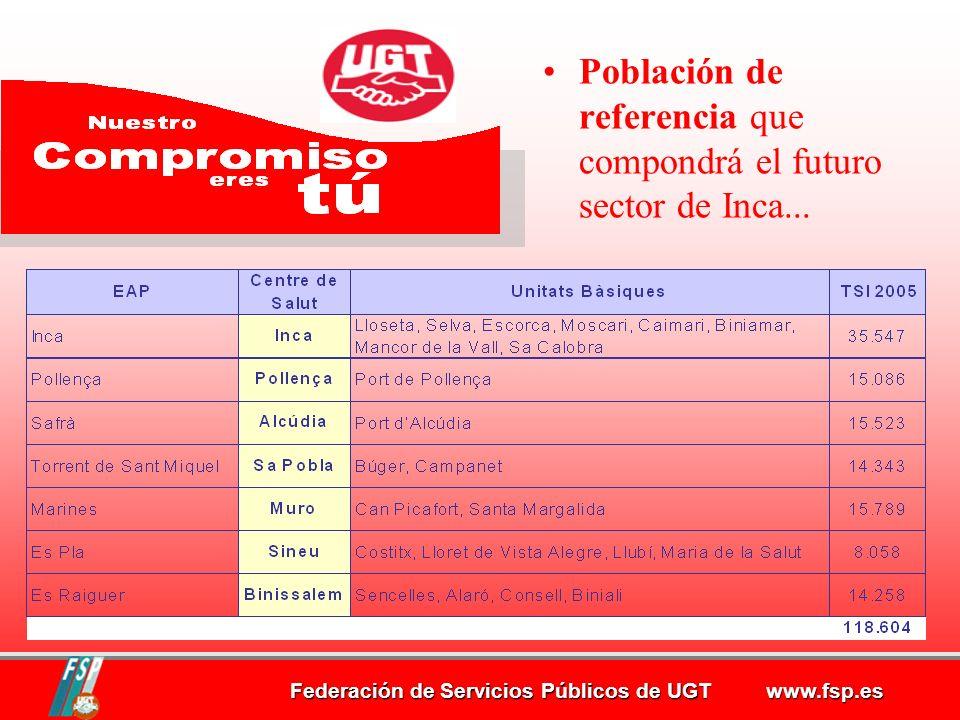 Población de referencia que compondrá el futuro sector de Inca...