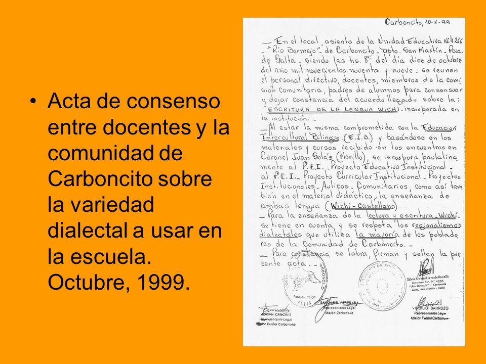 Acta de consenso entre docentes y la comunidad de Carboncito sobre la variedad dialectal a usar en la escuela.