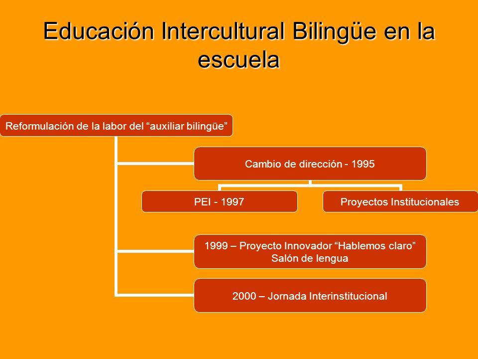 2º y 3º año Pareja pedagógica Inexistencia de recursos didácticos en ambas lenguas Tiempos pedagógicos a cargo del maestro de grado Planificación de contenidos a cargo del maestro de grado