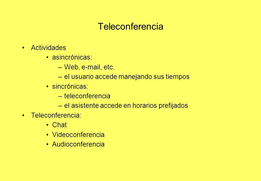 Teleconferencia Actividades asincrónicas: –Web, e-mail, etc. –el usuario accede manejando sus tiempos sincrónicas: –teleconferencia –el asistente acce