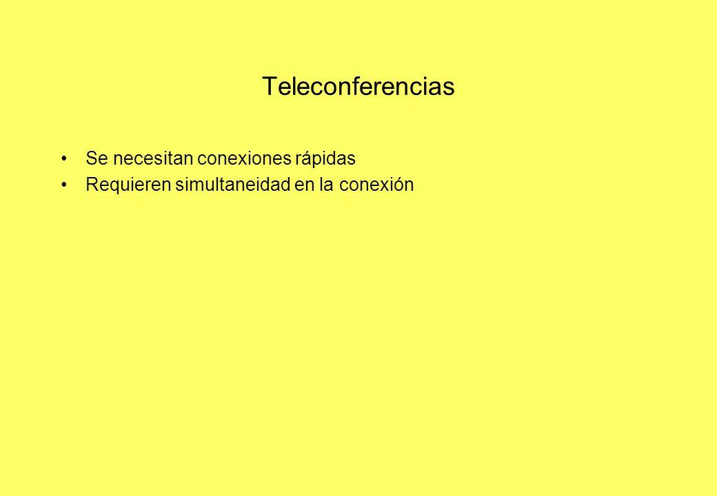 Teleconferencias Se necesitan conexiones rápidas Requieren simultaneidad en la conexión