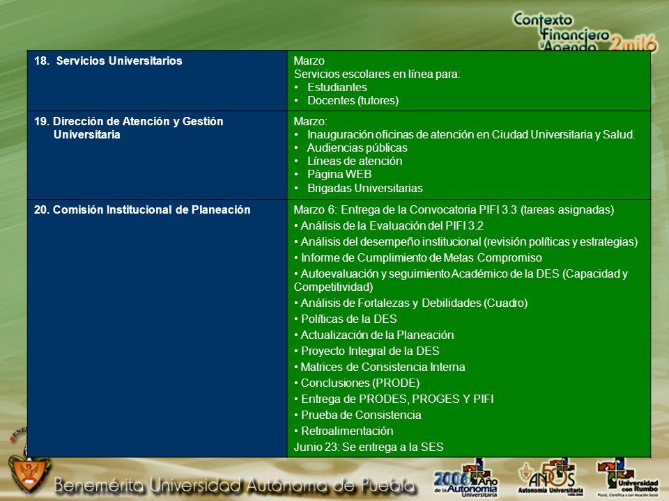 18. Servicios UniversitariosMarzo Servicios escolares en línea para: Estudiantes Docentes (tutores) 19. Dirección de Atención y Gestión Universitaria