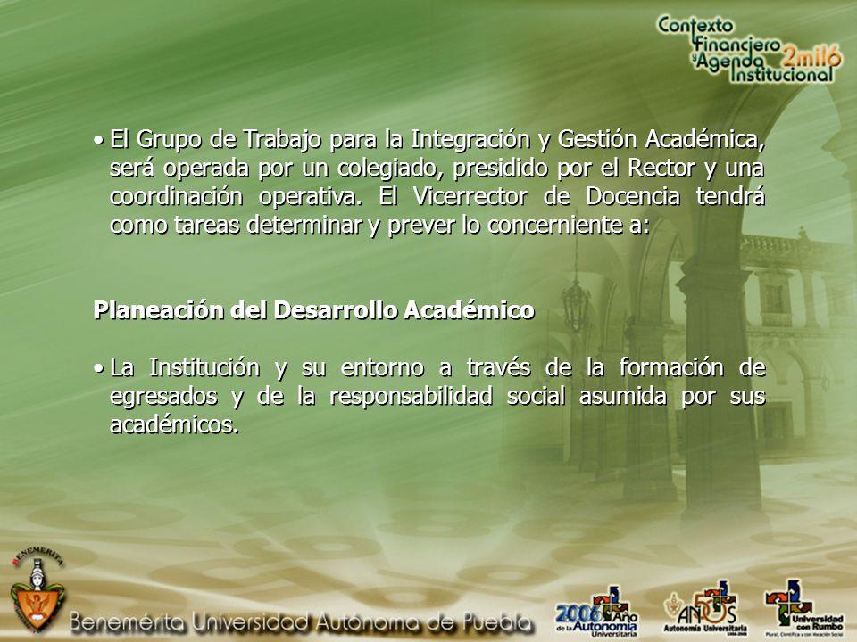 El Grupo de Trabajo para la Integración y Gestión Académica, será operada por un colegiado, presidido por el Rector y una coordinación operativa.