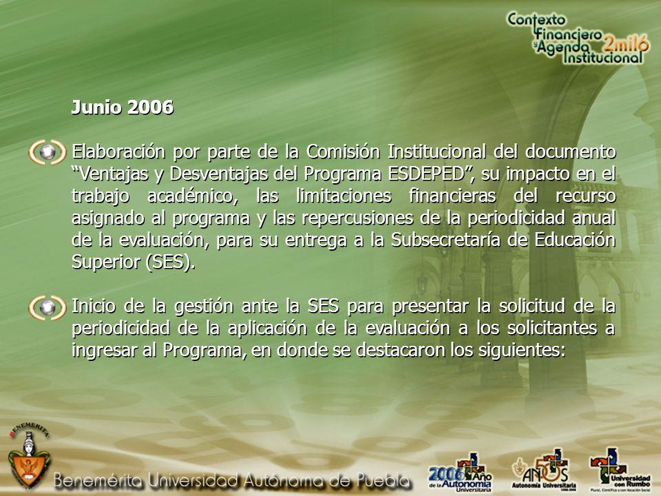 Junio 2006 Elaboración por parte de la Comisión Institucional del documento Ventajas y Desventajas del Programa ESDEPED, su impacto en el trabajo académico, las limitaciones financieras del recurso asignado al programa y las repercusiones de la periodicidad anual de la evaluación, para su entrega a la Subsecretaría de Educación Superior (SES).