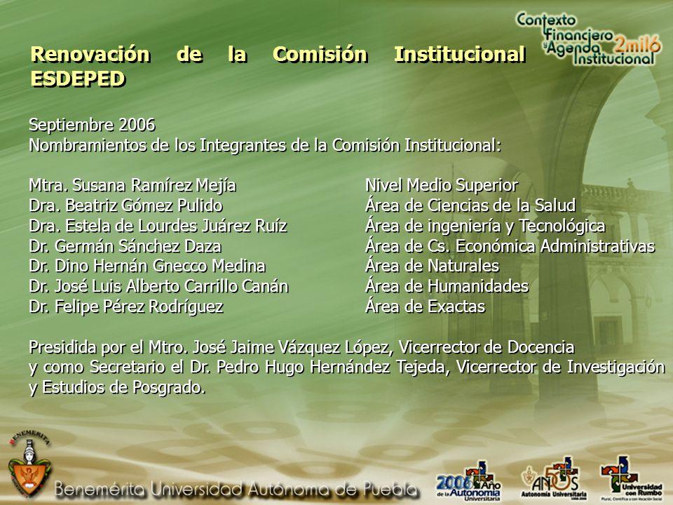Renovación de la Comisión Institucional ESDEPED Septiembre 2006 Nombramientos de los Integrantes de la Comisión Institucional: Mtra.