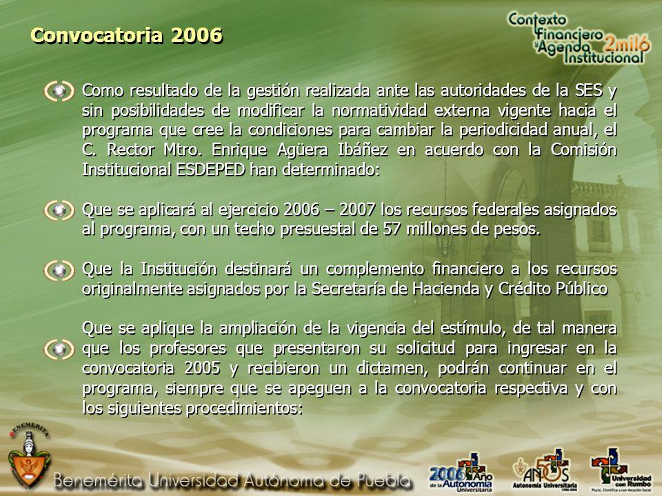 Convocatoria 2006 Como resultado de la gestión realizada ante las autoridades de la SES y sin posibilidades de modificar la normatividad externa vigente hacia el programa que cree la condiciones para cambiar la periodicidad anual, el C.