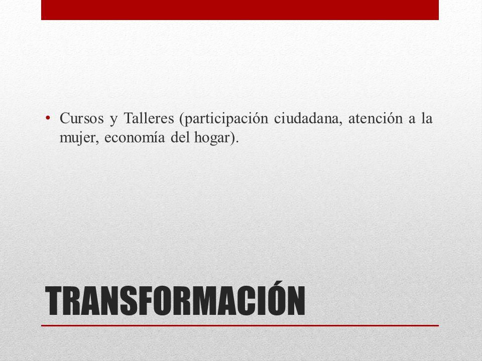 TRANSFORMACIÓN Cursos y Talleres (participación ciudadana, atención a la mujer, economía del hogar).