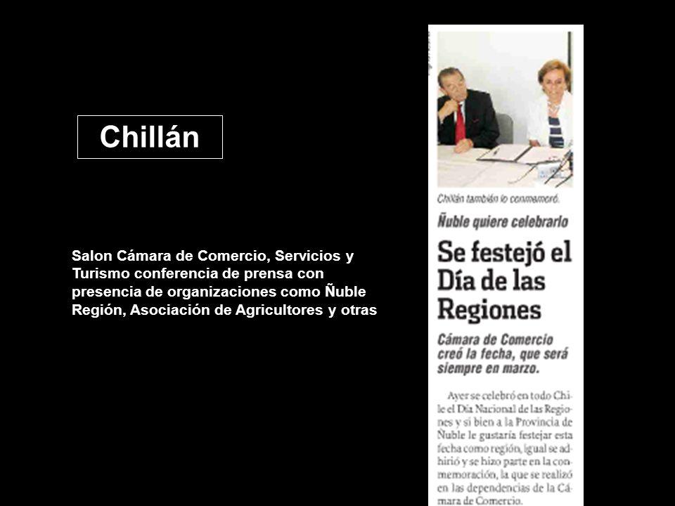 Chillán Salon Cámara de Comercio, Servicios y Turismo conferencia de prensa con presencia de organizaciones como Ñuble Región, Asociación de Agricultores y otras