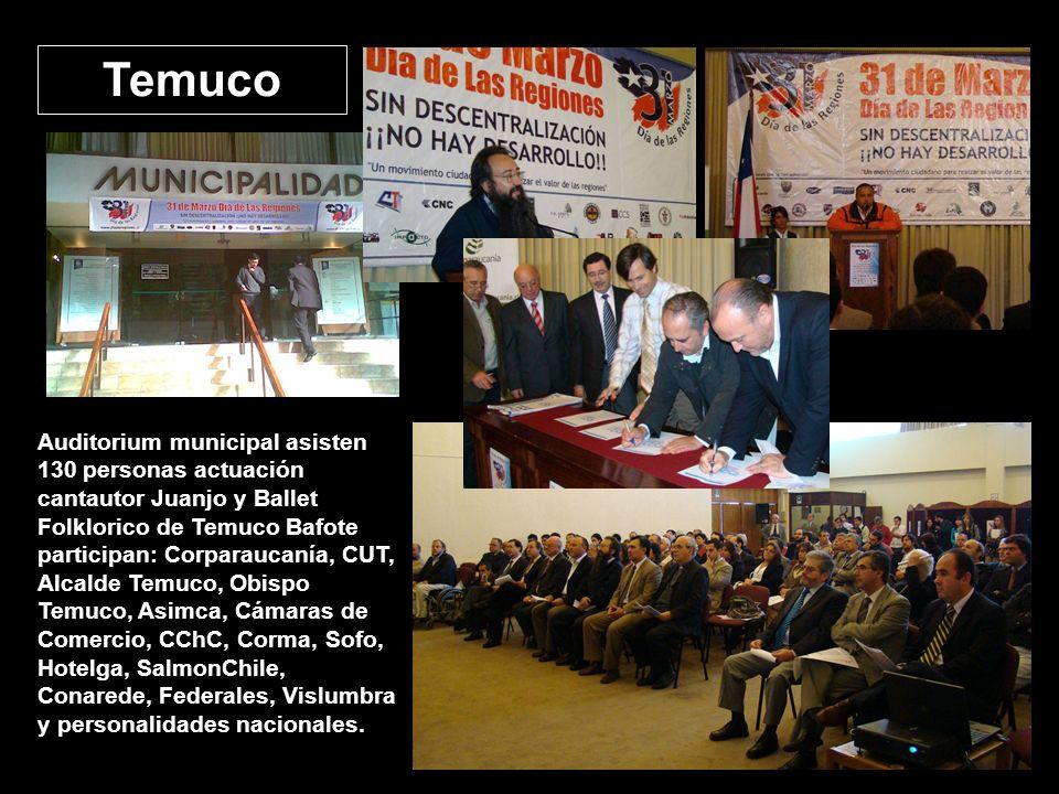 Temuco Auditorium municipal asisten 130 personas actuación cantautor Juanjo y Ballet Folklorico de Temuco Bafote participan: Corparaucanía, CUT, Alcalde Temuco, Obispo Temuco, Asimca, Cámaras de Comercio, CChC, Corma, Sofo, Hotelga, SalmonChile, Conarede, Federales, Vislumbra y personalidades nacionales.