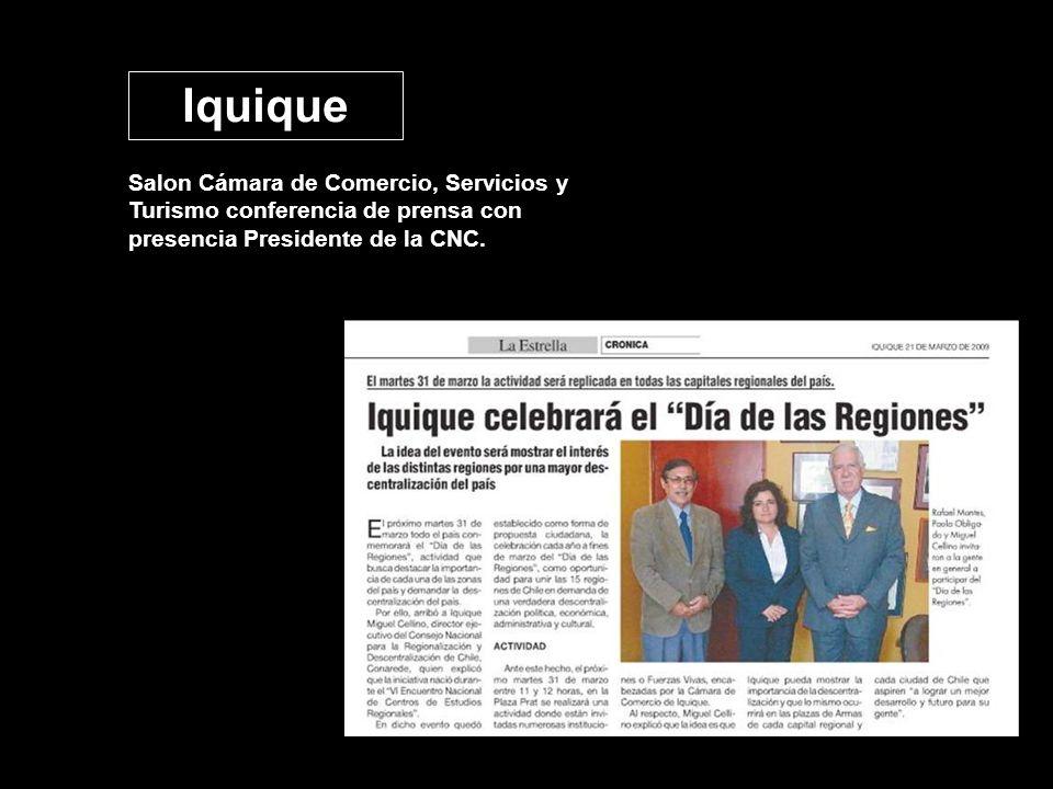 Salon Cámara de Comercio, Servicios y Turismo conferencia de prensa con presencia Presidente de la CNC. Iquique