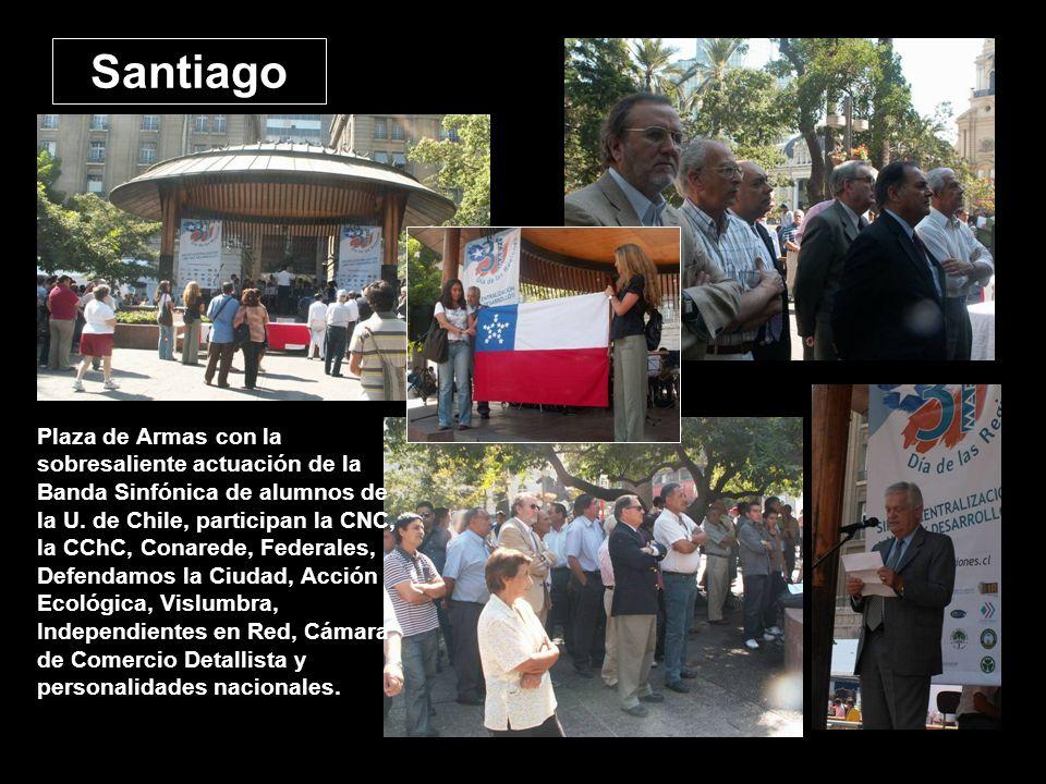 Santiago Plaza de Armas con la sobresaliente actuación de la Banda Sinfónica de alumnos de la U. de Chile, participan la CNC, la CChC, Conarede, Feder