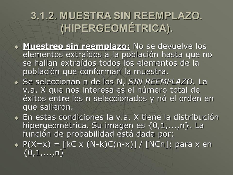 3.1.2.MUESTRA SIN REEMPLAZO. (HIPERGEOMÉTRICA).