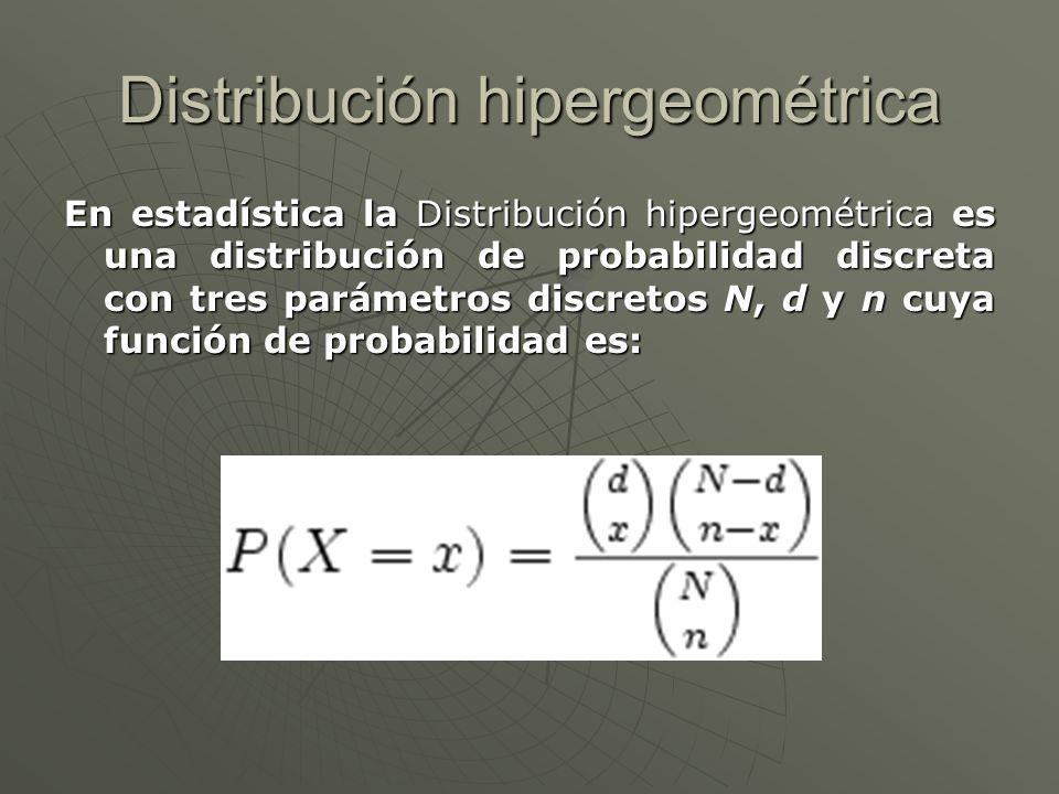 Distribución hipergeométrica En estadística la Distribución hipergeométrica es una distribución de probabilidad discreta con tres parámetros discretos N, d y n cuya función de probabilidad es: