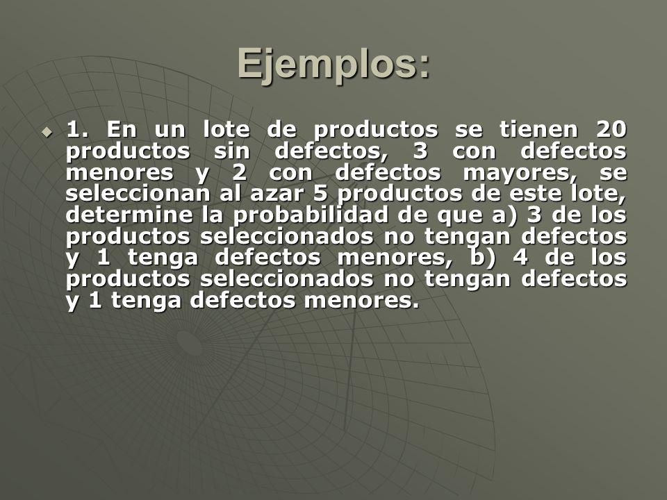 Ejemplos: 1. En un lote de productos se tienen 20 productos sin defectos, 3 con defectos menores y 2 con defectos mayores, se seleccionan al azar 5 pr
