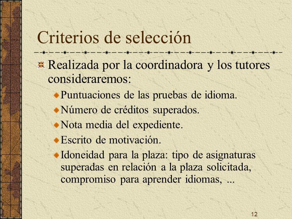 12 Criterios de selección Realizada por la coordinadora y los tutores consideraremos: Puntuaciones de las pruebas de idioma.