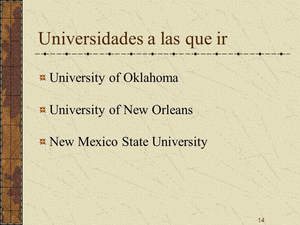 14 Universidades a las que ir University of Oklahoma University of New Orleans New Mexico State University
