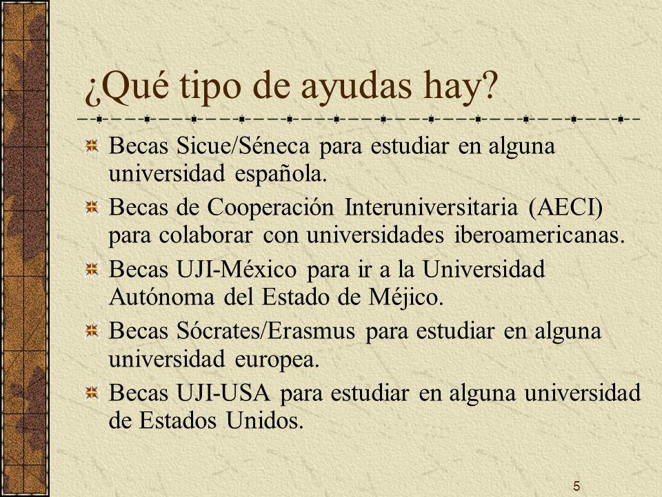 5 ¿Qué tipo de ayudas hay. Becas Sicue/Séneca para estudiar en alguna universidad española.