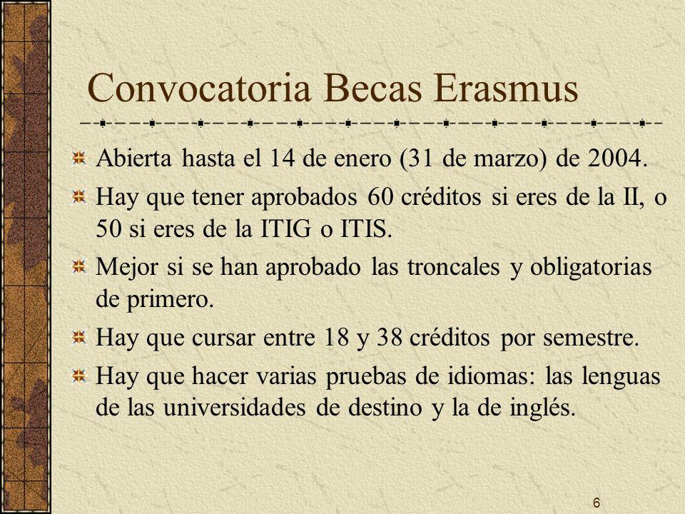 6 Convocatoria Becas Erasmus Abierta hasta el 14 de enero (31 de marzo) de 2004.