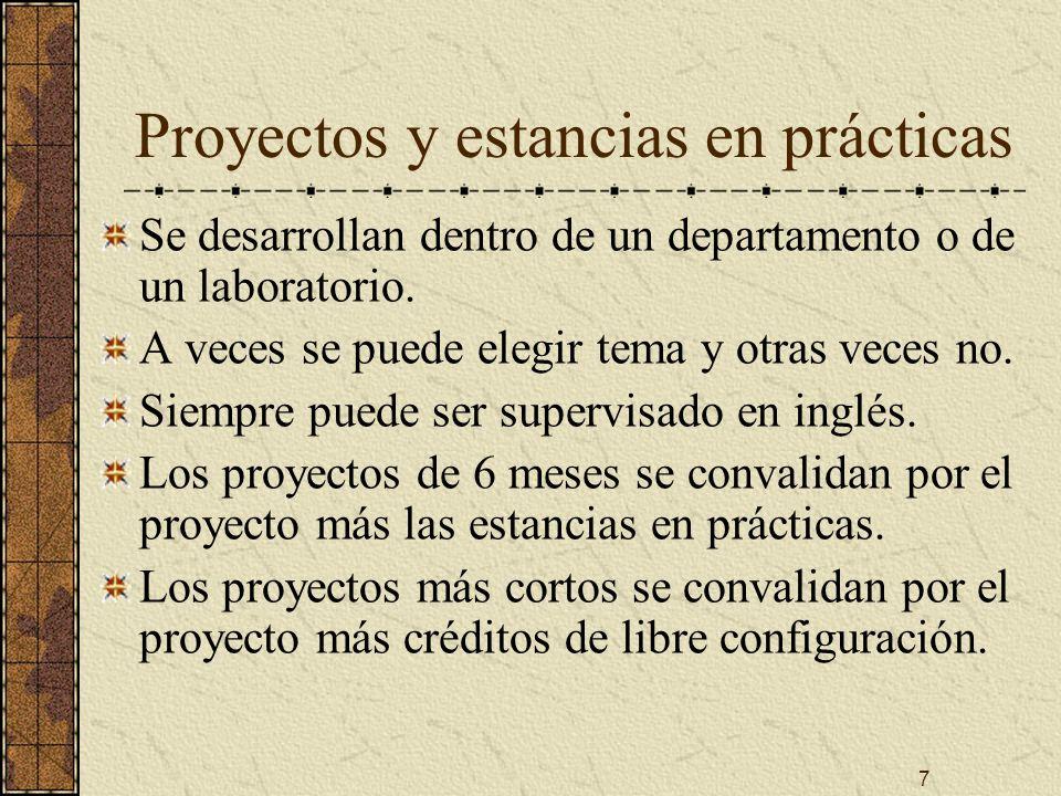 7 Proyectos y estancias en prácticas Se desarrollan dentro de un departamento o de un laboratorio.