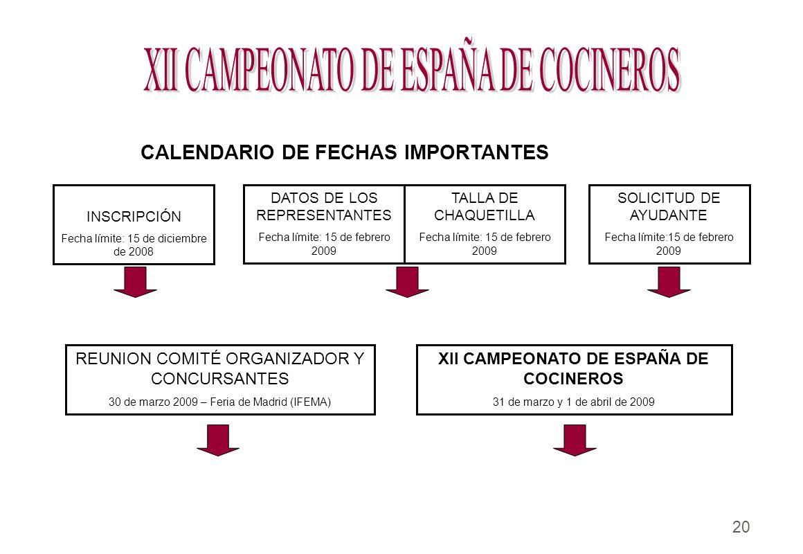 20.. DATOS DE LOS REPRESENTANTES Fecha límite: 15 de febrero 2009 CALENDARIO DE FECHAS IMPORTANTES TALLA DE CHAQUETILLA Fecha límite: 15 de febrero 20