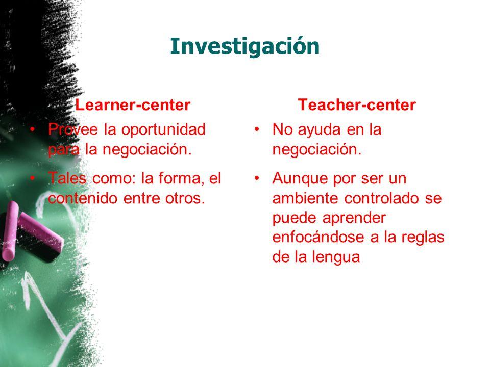 Investigación Learner-center Provee la oportunidad para la negociación.