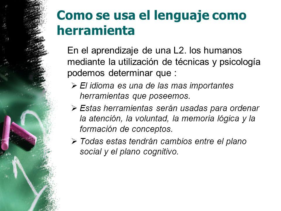 Como se usa el lenguaje como herramienta En el aprendizaje de una L2.