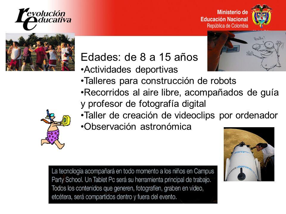 Edades: de 8 a 15 años Actividades deportivas Talleres para construcción de robots Recorridos al aire libre, acompañados de guía y profesor de fotogra