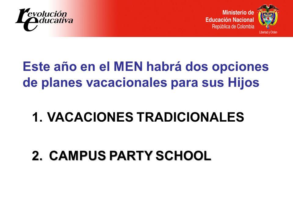 1. VACACIONES TRADICIONALES 2.CAMPUS PARTY SCHOOL Este año en el MEN habrá dos opciones de planes vacacionales para sus Hijos