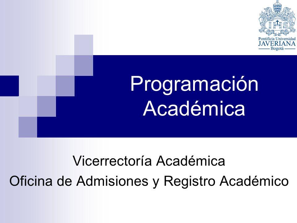 Programación Académica Vicerrectoría Académica Oficina de Admisiones y Registro Académico