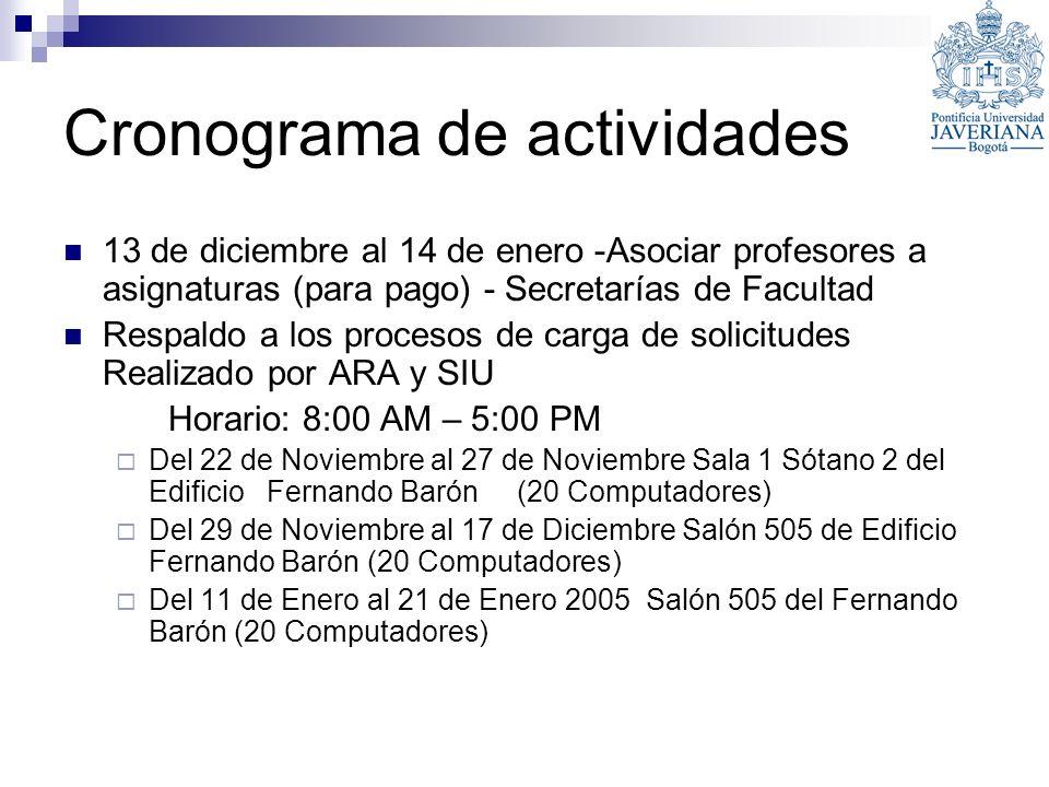 Cronograma de actividades 13 de diciembre al 14 de enero -Asociar profesores a asignaturas (para pago) - Secretarías de Facultad Respaldo a los proces
