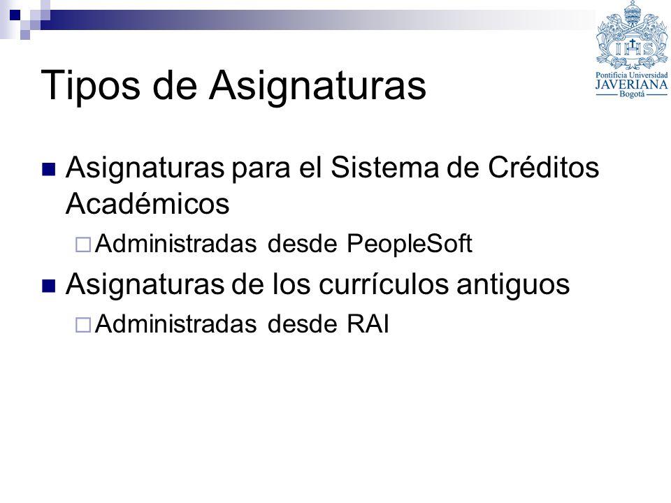 Tipos de Asignaturas Asignaturas para el Sistema de Créditos Académicos Administradas desde PeopleSoft Asignaturas de los currículos antiguos Administ