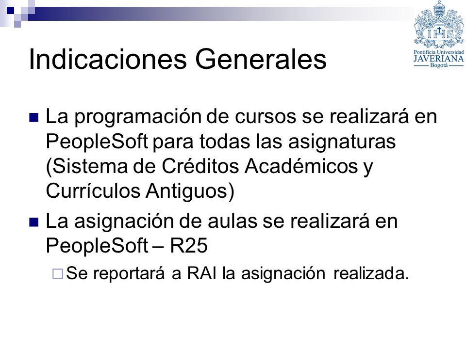 Indicaciones Generales La programación de cursos se realizará en PeopleSoft para todas las asignaturas (Sistema de Créditos Académicos y Currículos An