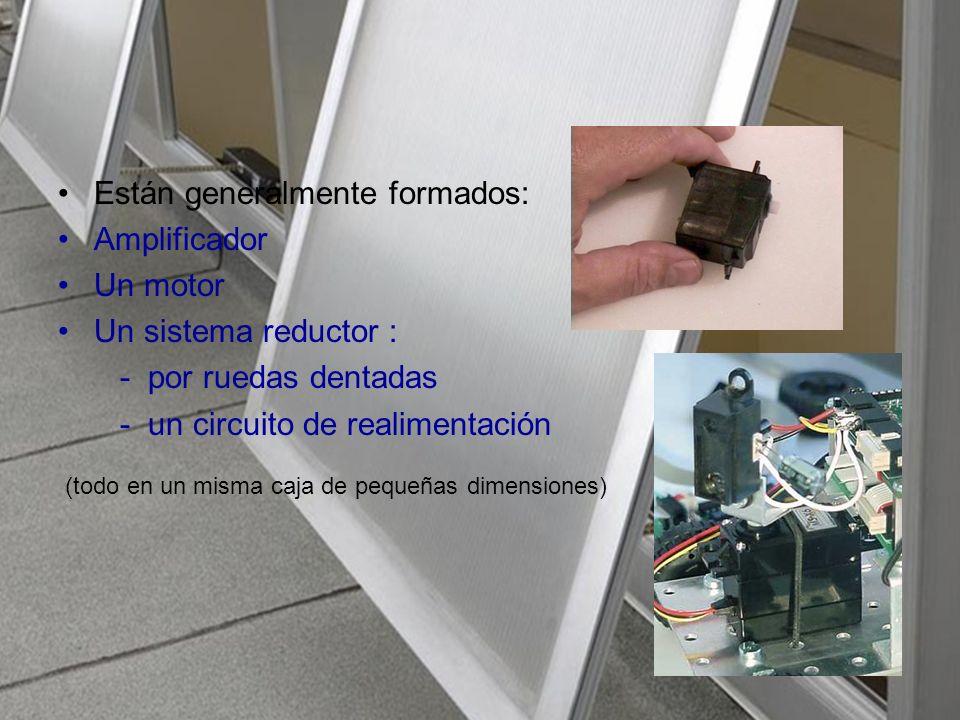 Están generalmente formados: Amplificador Un motor Un sistema reductor : - por ruedas dentadas - un circuito de realimentación (todo en un misma caja de pequeñas dimensiones)