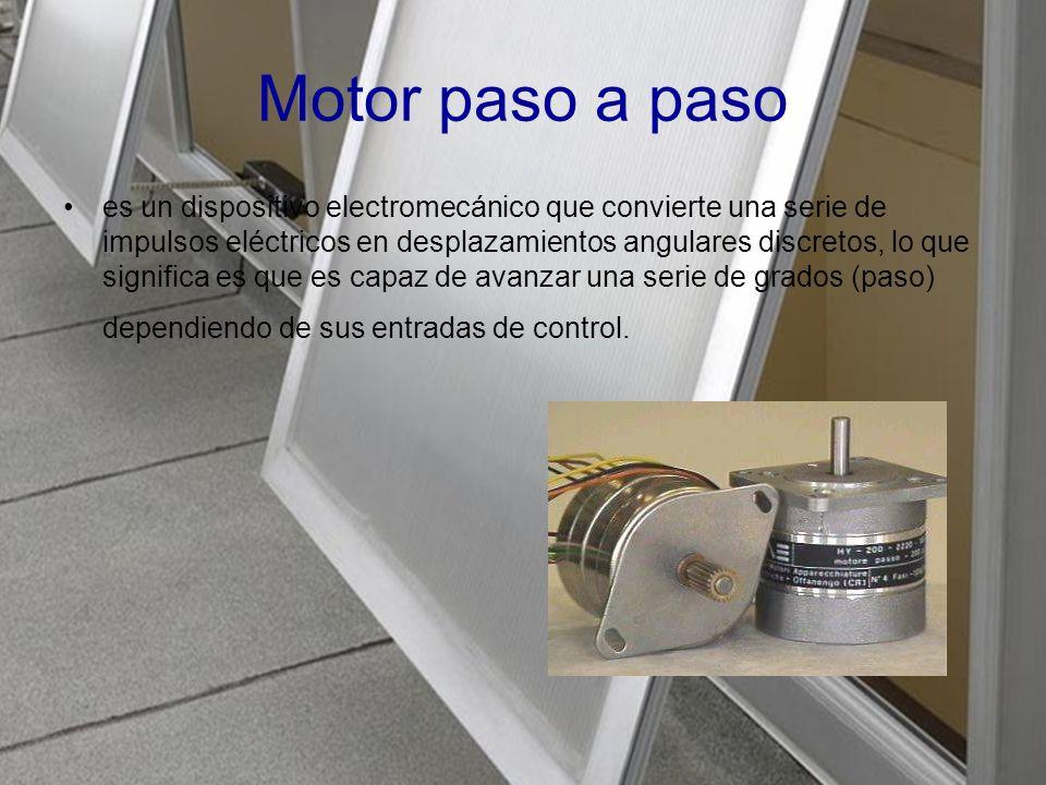 Motor paso a paso es un dispositivo electromecánico que convierte una serie de impulsos eléctricos en desplazamientos angulares discretos, lo que significa es que es capaz de avanzar una serie de grados (paso) dependiendo de sus entradas de control.