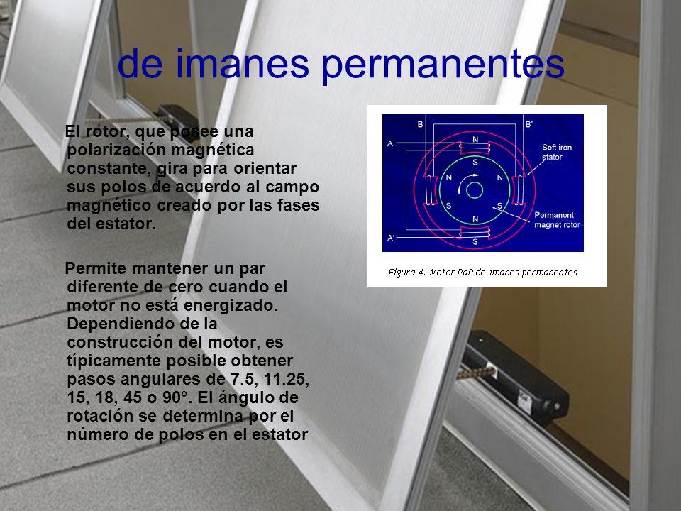de imanes permanentes El rotor, que posee una polarización magnética constante, gira para orientar sus polos de acuerdo al campo magnético creado por las fases del estator.