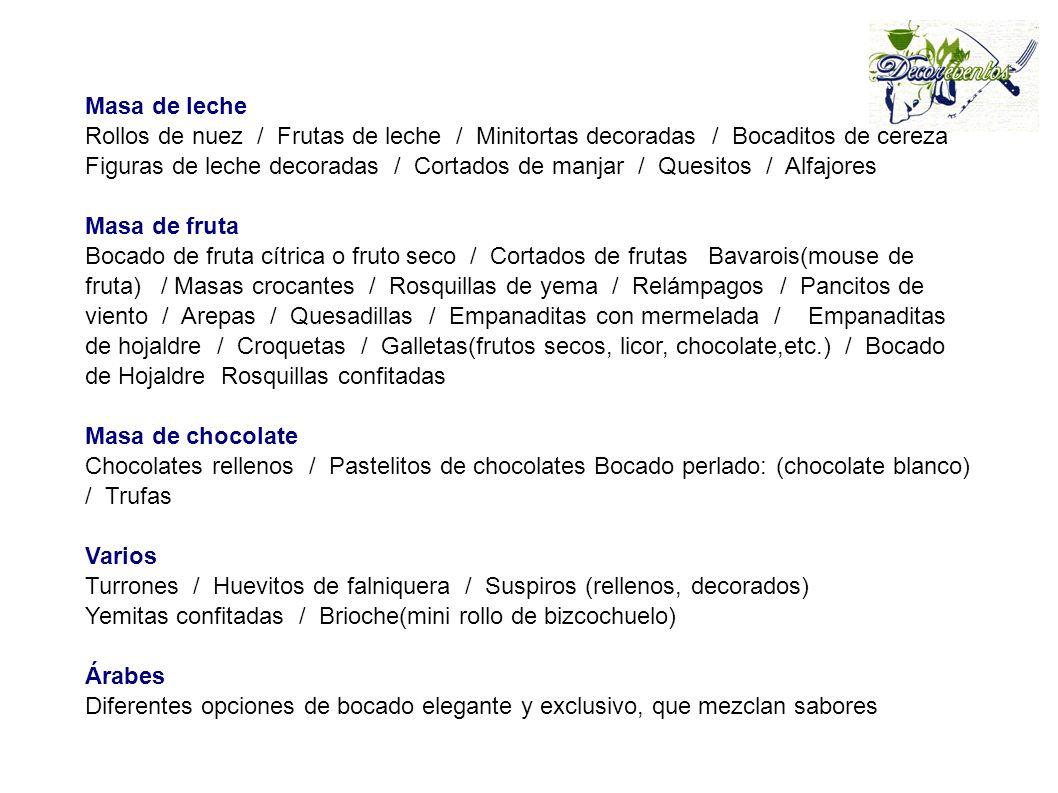 Masa de leche Rollos de nuez / Frutas de leche / Minitortas decoradas / Bocaditos de cereza Figuras de leche decoradas / Cortados de manjar / Quesitos